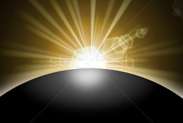 Świt wygaśnięcia planety za czarny ziemi Zdjęcia stock © hlehnerer