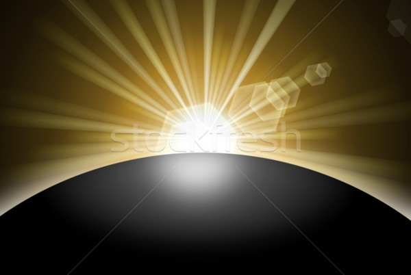 Zonsopgang zonsondergang planeet achter zwarte aarde Stockfoto © hlehnerer