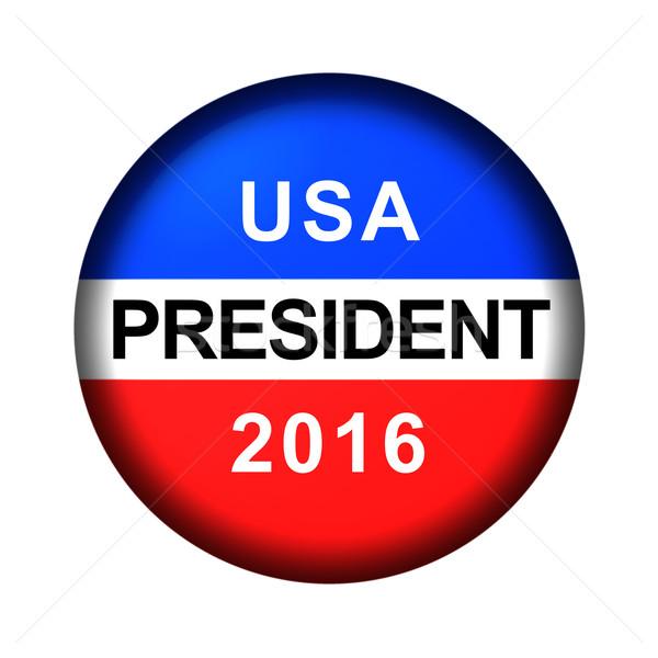 Szavazás gomb elnök piros fehér kék Stock fotó © hlehnerer