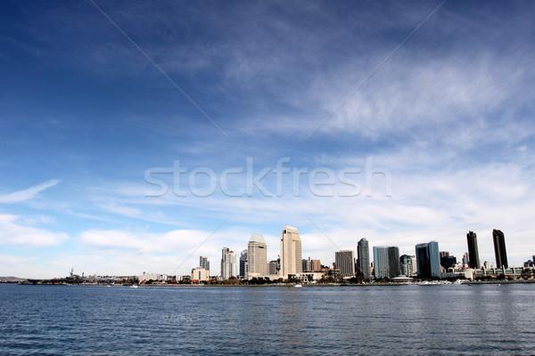 Sziluett San Diego víz elöl felhős kék ég Stock fotó © hlehnerer