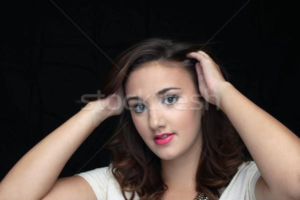 Mulher sorrindo mulher jovem sorridente preto mulher mulheres Foto stock © hlehnerer