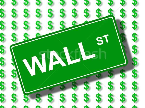 Wall Street vert signe dollar icônes argent Photo stock © hlehnerer