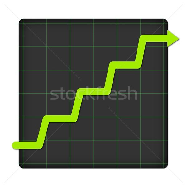 Icon statistisch omhoog grafiek witte business Stockfoto © hlehnerer