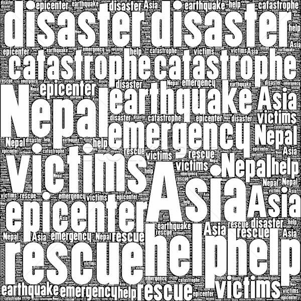 Nepál földrengés szó saláta felhő illusztráció Stock fotó © hlehnerer