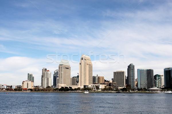 San Diego linha do horizonte água nublado blue sky Foto stock © hlehnerer