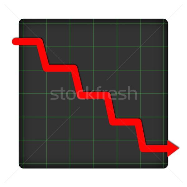 Icon statistisch beneden grafiek witte geld Stockfoto © hlehnerer