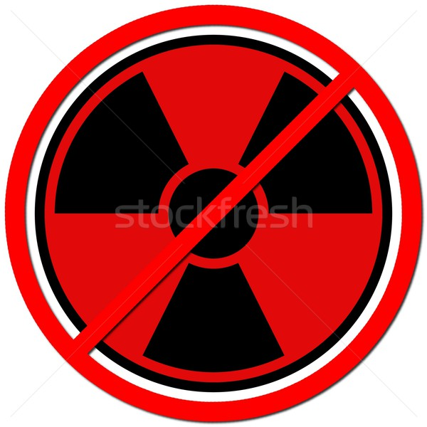 Foto stock: átomo · vermelho · assinar · radiação · branco · poder