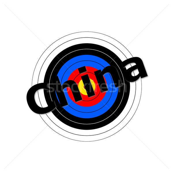 Target China schrijven teken Rood zwarte Stockfoto © hlehnerer