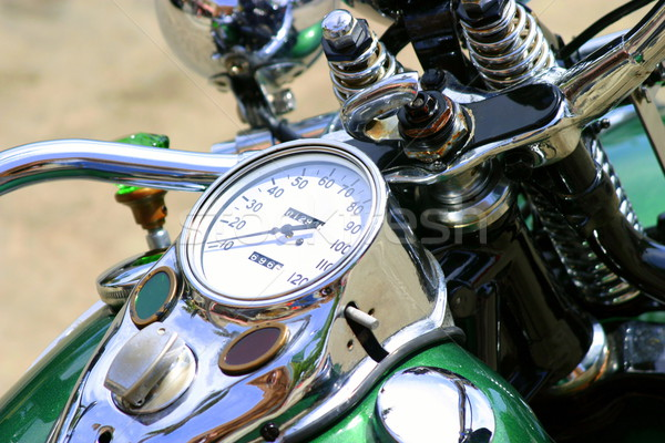 Motorkerékpár felső kilátás klasszikus zöld fém Stock fotó © hlehnerer