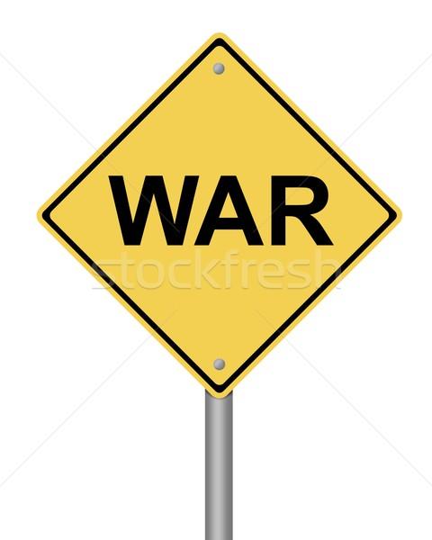Oorlog Geel witte straat teken Stockfoto © hlehnerer