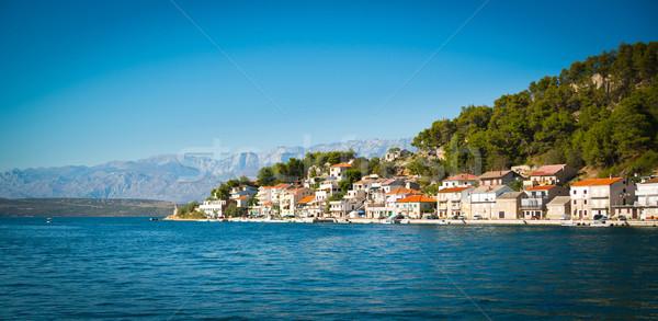 Horvátország nyár ház város hegyek építészet Stock fotó © Hochwander