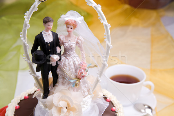 Photo stock: Gâteau · de · mariage · mariée · marié · femme · fête · couple