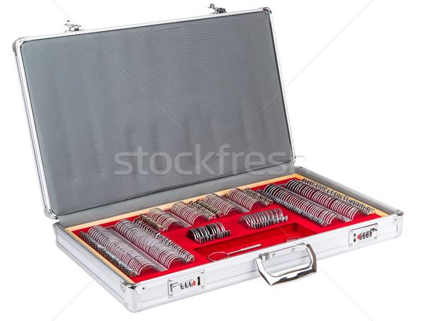 Szett lencsék összeillő szemorvos iroda bőrönd Stock fotó © Hochwander
