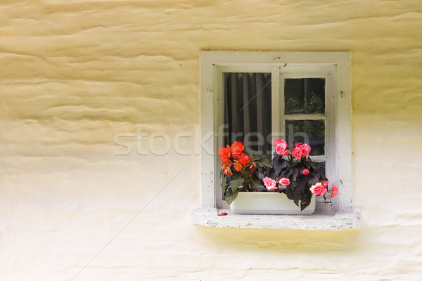 Pequeño rural ventana casa pared arquitectura Foto stock © Hochwander