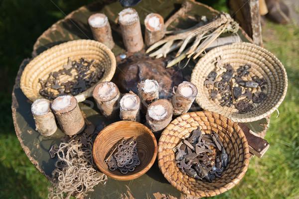 Fond panier sel anciens corne bois Photo stock © Hochwander