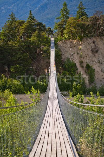 Asılı köprü mevsimlik nehir ahşap inşaat Stok fotoğraf © Hochwander