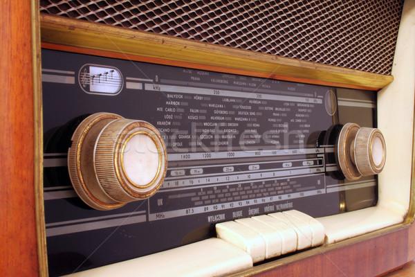 Oude antieke radio houten mijn grootouders Stockfoto © Hochwander