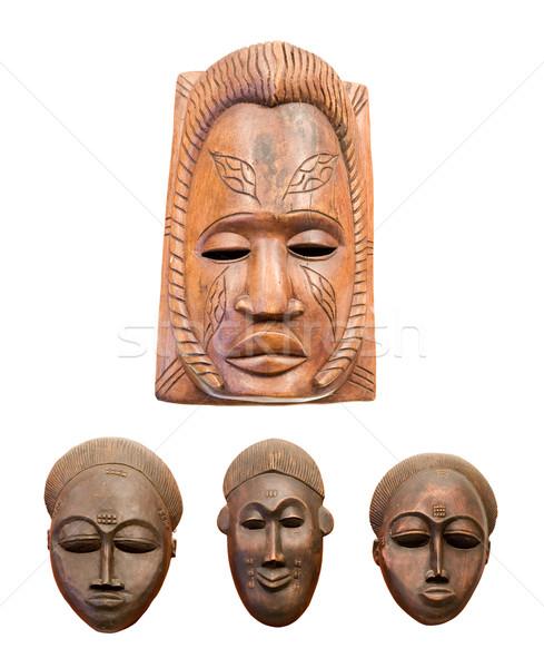 Cuatro África máscaras aislado blanco ojos Foto stock © Hochwander