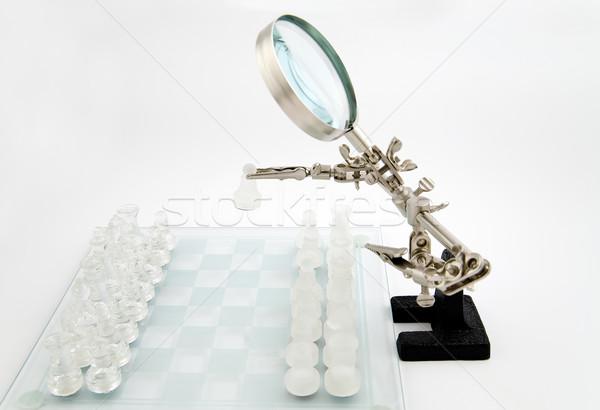 Cam satranç üçüncü el arka plan siyah Stok fotoğraf © Hochwander