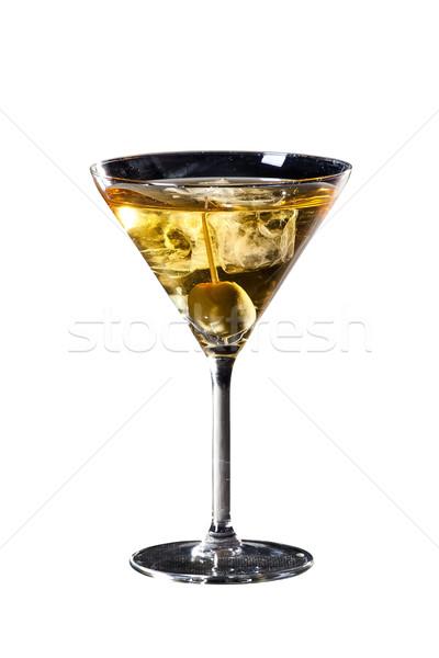 De oliva martini cóctel aislado blanco delicioso Foto stock © Hochwander