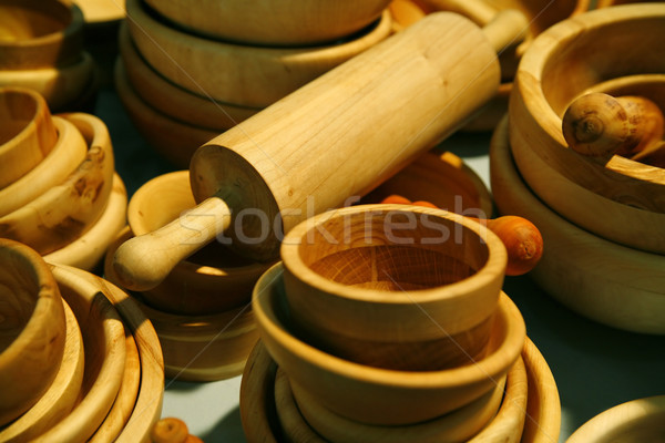 wooden dishes with rolling pin Stock photo © Hochwander