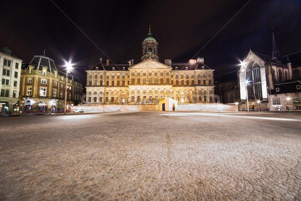 Koninklijk paleis Amsterdam nacht foto lang Stockfoto © Hochwander