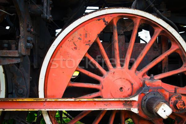 Fragment oude wiel roestige trein zwarte Stockfoto © Hochwander
