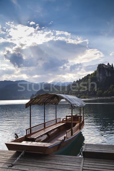 лодка озеро Словения один красивой Сток-фото © Hochwander