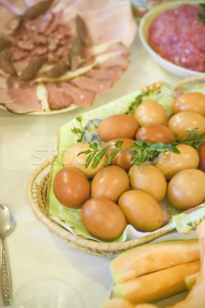 Iyi paskalyalar Paskalya tablo lezzetli gıda Stok fotoğraf © Hochwander