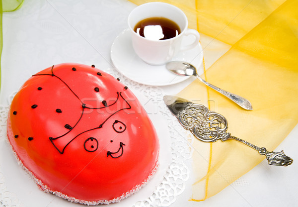Uğur böceği kek tatlı kahve çikolata içmek Stok fotoğraf © Hochwander