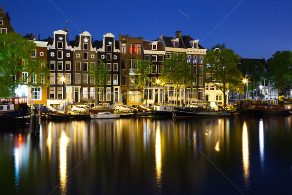 Renkli evler Amsterdam gece fotoğraf Stok fotoğraf © Hochwander