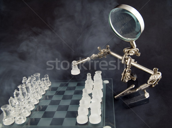Dumanlı cam satranç üçüncü el spor Stok fotoğraf © Hochwander