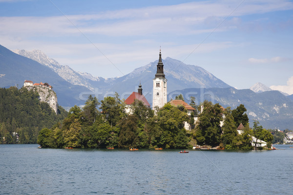Panorama of Bled Lake in Slovenia Stock photo © Hochwander