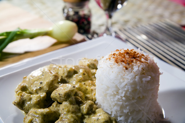 chicken with rice in curry spice Stock photo © Hochwander