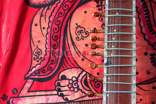 öreg piros ősi indiai hangszer zene Stock fotó © Hochwander