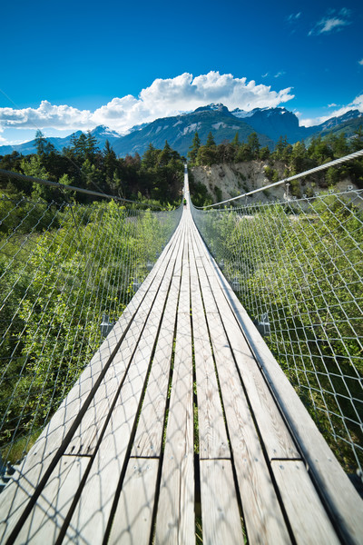 Hanging bridge over seasonal river Stock photo © Hochwander