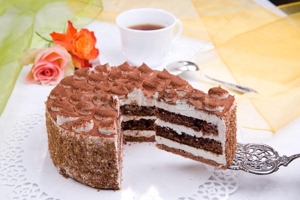 Photo stock: Délicieux · gâteau · pièce · café · fleur · alimentaire