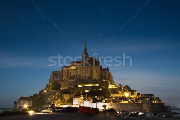 Gece yarısı duvar deniz dağ Yıldız kilise Stok fotoğraf © Hochwander