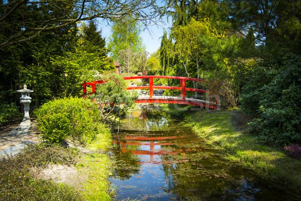 Wooden bridge in japanese garden Stock photo © Hochwander