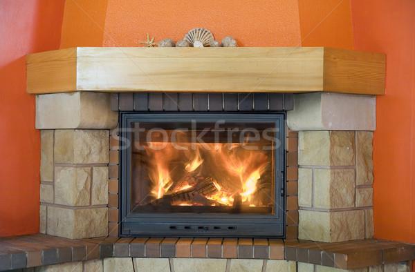cosy fireplace Stock photo © Hochwander