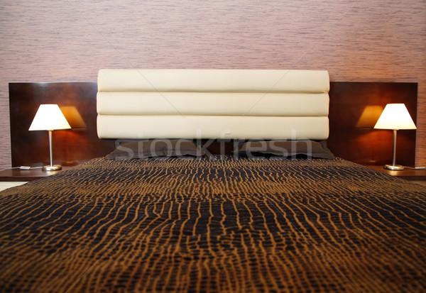 Wygodny bed dwa lampy ściany projektu Zdjęcia stock © Hochwander