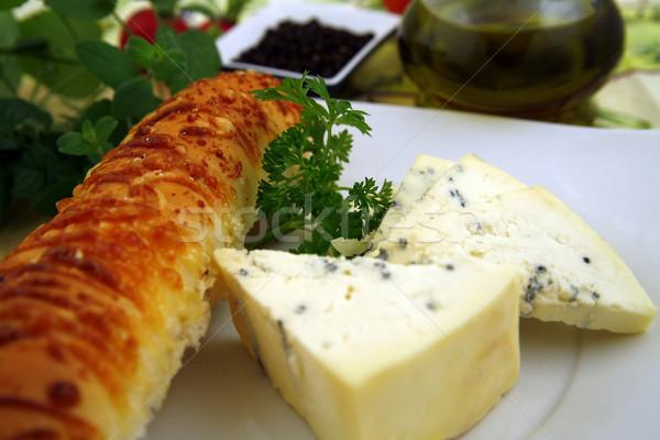 Francia reggeli sajt kenyér bor gyógynövények Stock fotó © Hochwander
