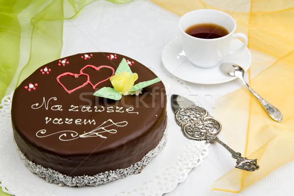 Verjaardagstaart beker koffie bloem liefde hart Stockfoto © Hochwander