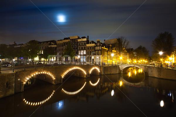 Amsterdam kanal gece panorama uzun zaman Stok fotoğraf © Hochwander
