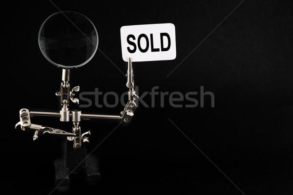 Cijfer staal man uitverkocht opschrift zwarte Stockfoto © Hochwander