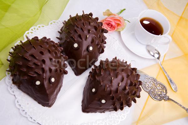 Sündisznó torta rózsa kávé étel ital Stock fotó © Hochwander