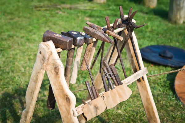 öreg fogas szerszám fából készült kalapács rozsda Stock fotó © Hochwander