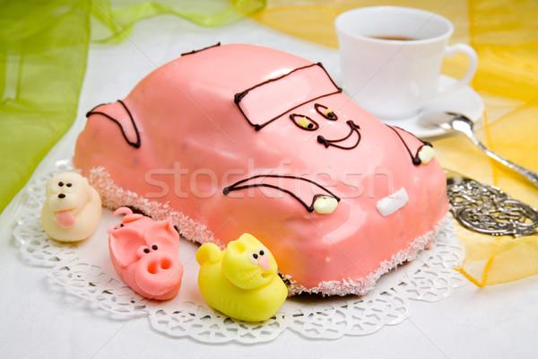 Auto cake beker koffie zoete heerlijk Stockfoto © Hochwander