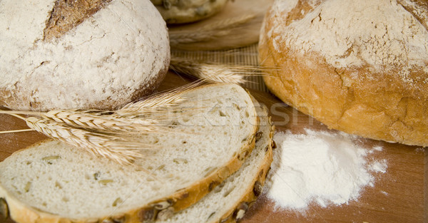 fresh different kinds of bread with sour and wheat head Stock photo © Hochwander