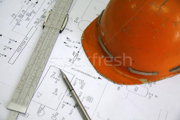 Lápiz casco eléctrica construcción trabajo naranja Foto stock © Hochwander